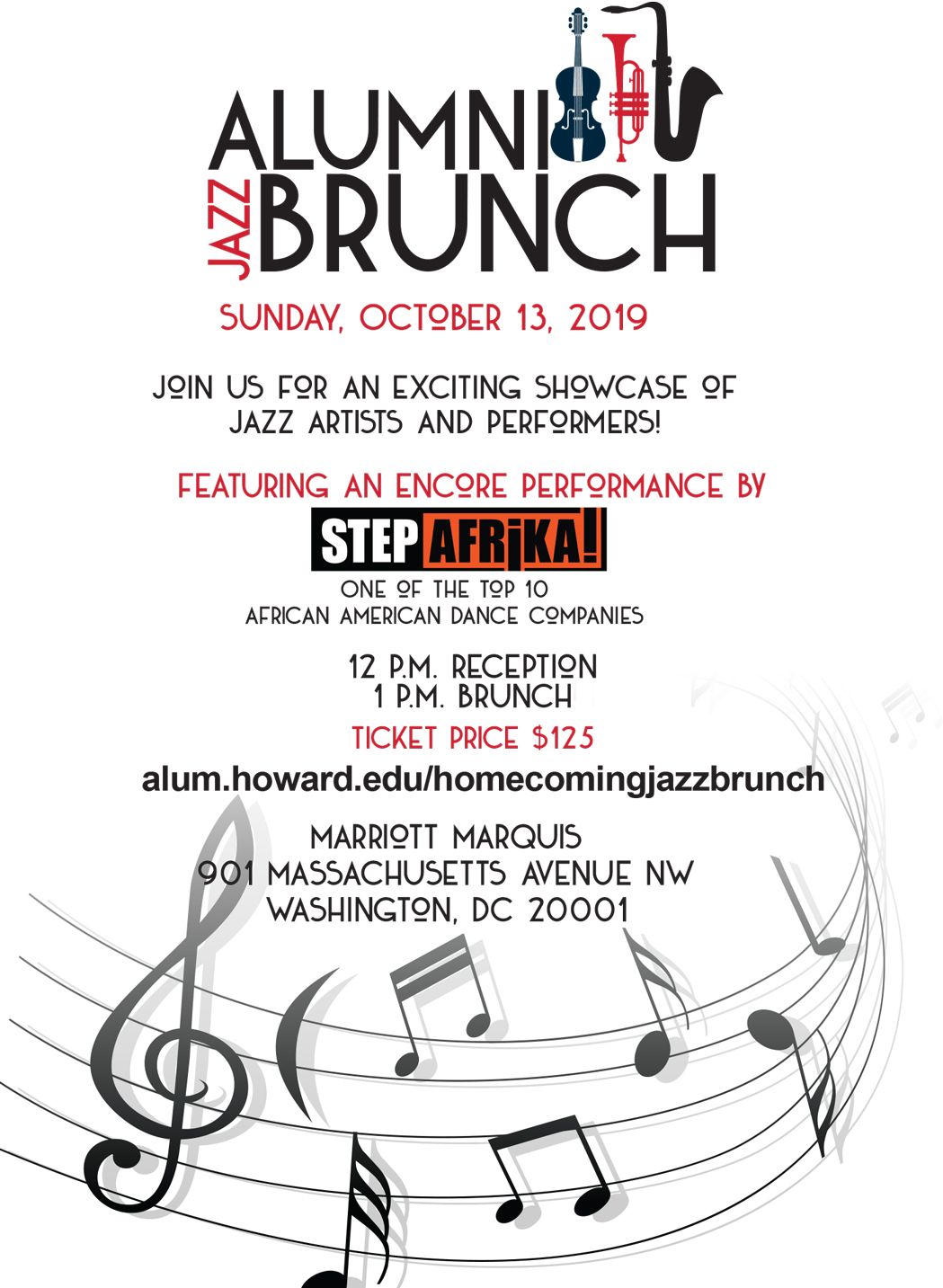 Registration for the 2019 Homecoming Alumni Jazz Brunch